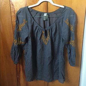 Anthropologie Yellow and Gray Peasant Blouse